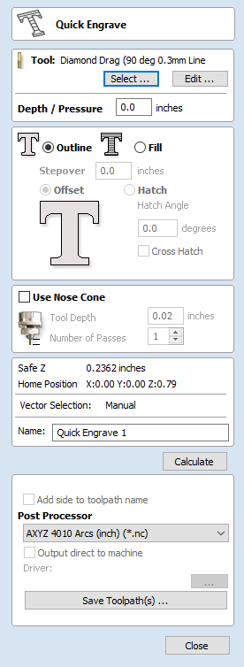 Quick Engraving Toolpath - VCarve Pro V9 0 User Manual